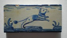 Antique tile, small size with lion!  Rare