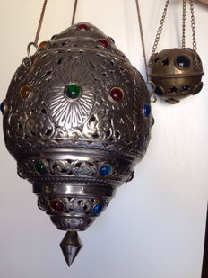 two Moroccan lanterns in metal, 20th century