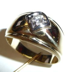 Diamond ring 14kt gold - wide band ring brilliant cut diamond of approx. 0.20ct. H/VVS-IF