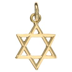 Yellow gold pendant in the shape of a Star of David.