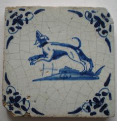 Antique tile with dog, rare!
