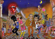 Music posters (5 x) The Rolling Stones, B.B. King, Gary Moore and by Typex: Massive Attack and Moke