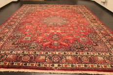 Persian palace carpet, old semi antique Mesched, vintage, 300 x 380 cm, made in Iran, around 1970