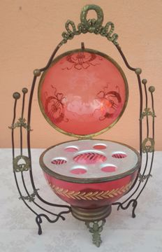 Bohemian glass and bronze cupholder - 20th century