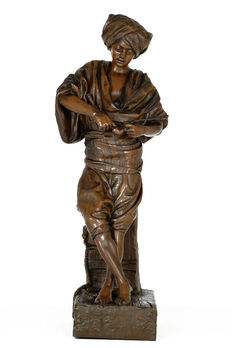 L. Hollol - Bronze-coloured zamak sculpture of an Arabian young man with pipe - approx. 1900
