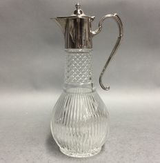 Glass cut decanter for red wine with silver plated mounting, so-called. claret jug, England, ca. 1955