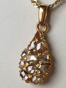 Antique, 18 karat gold, drop-shaped pendant with rose diamonds, over 1.0 ct.