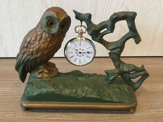 Rare early french  cold painted spelter pocket watch stand with owl