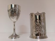 Wine goblet and wine holder - both silver-coated - medieval style