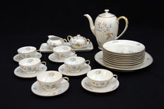Rosenthal - coffee/tea set for 6 persons, model Else, decoration 3062, design by the Rosenthal Kronach company