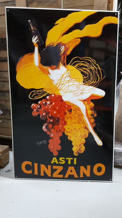 Enamel sign Asti Cinzano - re-issue from the late 20th century, after a design by Leonetto Cappiello from 1920