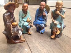 Four sitting Shiwan Mud Men - China - Mid 20th century