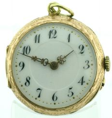 Gold pocket watch with enamel - ladies' watch approx. 1900