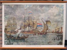 "Old school poster with the ""VOC fleet for Amsterdam in around 1665"""