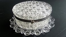 Oval Baccarat pressed glass box and under dish, signed B, France, circa 1900