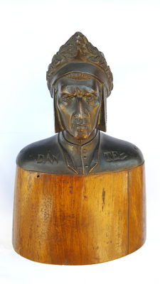 Antimony Dante sculpture with walnut base. Italy. 20th century