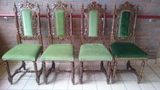 4 antique Oak chairs with green velvet