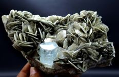 Terminated Aquamarine Crystal with Muscovite Mica - 45 x 120 x 65 mm - 547gm