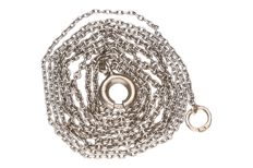 White gold fine anchor link necklace in 14 kt.