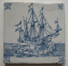 antique tile with a three master