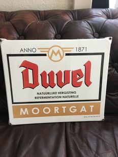 Heavy enamel advertising sign - DUVEL MOORTGAT - period late 20th/early 21st century.