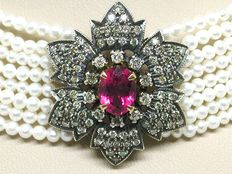 Art Deco diamond and pink tourmaline baby pearl necklace