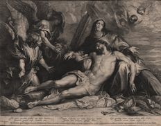 Lucas Vorsterman I ( 1595 - 1675) - The lamentation of Christ by Anthony Van Dyck (1599-1641)  - Ca. 1634