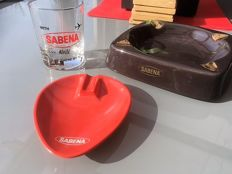 Lot of SABENA objects, 2 ashtrays, 1 Whisky glass - beautiful vintage from the 70s
