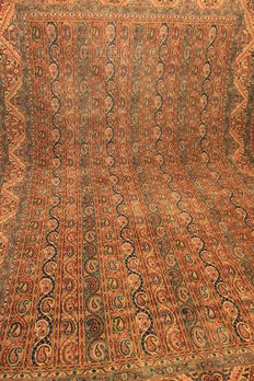 Exclusive semi antique hand-knotted Persian carpet, stripes Bote Ghom Ghoum Kum cork wool with silk 220 x 330. Made in India.