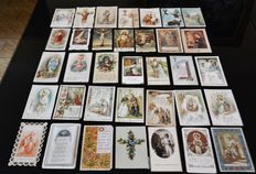 Batch of 520 pious images - popes, saints, sacred heart, illuminations, Virgin Mary, communicants, stamp of admission and old books - from 1880