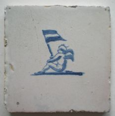 Antique tile Cupid with flag!         (Special scene)