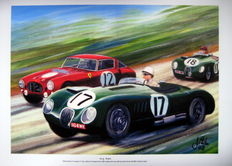 "Fine Art Print - ""Early Battle"" Jaguar C-Type/Stirling Moss/Ferrari 340 MM/Alberto Ascari - Le Mans 1953"