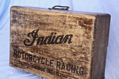 Old wood box-garage tools case with INDIAN MOTORCYCLE print