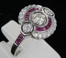 14 kt white gold ring in Art Deco style with rubies and brilliant-cut diamonds, ring size 17.25 (54)