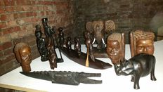 Lot of 9 miscellaneous beautiful African/Democratic Republic Congo wooden hand-carved Items