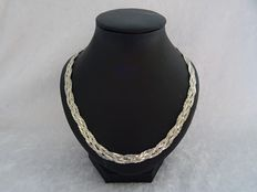 Woven decorated silver 'herringbone' necklace