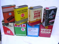8 old oil cans - 2 litre - Esso - shell - Elf - Motul - Avia - casino - Fina - France