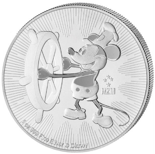 2017 Niue $2 1oz Disney Steamboat Willie Mickey Mouse Silver Bullion coin