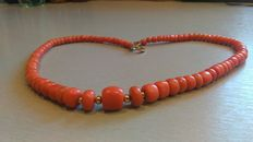 Necklace made of natural red beads