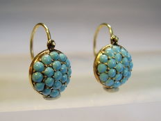Earrings with turquoise paste glass stones circa 1900