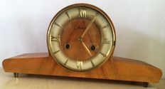 Vintage Jlaid/western Germany wood mantel clock - 1950/ '60 - West Germany