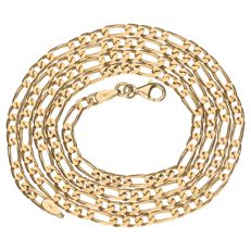 Yellow gold Figaro link necklace, 14 kt - length: 62.7 cm