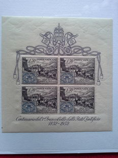 Vatican City, 1952 - Centenary of the Papal State's first stamp- BF No. 1 **