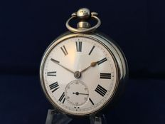 David.D.Clark open face fusee pocket watch - gold plated case - 1876