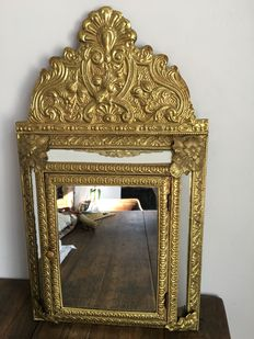 Lovely old mirror cabinet Beautifully studded copper foil