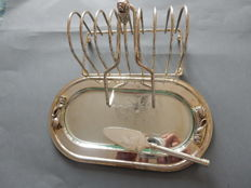 Very nice metal silver plated tray silver with toast holder with knife and fois gras lyre - glass insert - 20th century - France