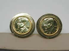 18 kt vintage yellow gold cufflinks with JFK coins, 1963