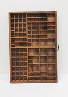 Wooden typecase with 115 compartments 'Vendome gras 48' - France, ca. 1950