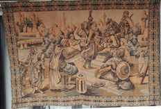 machine Moroccan tapestry fabric with Arab scene as a dancer, with players and spectators, 20th century