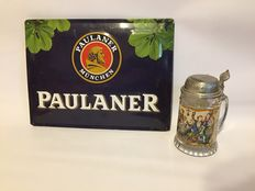 Lidded Beer glass with best wishes and a tin Paulander collector sign - end 20th century.